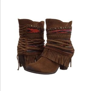 Naughty Monkey Women's Brown Poncho Booties size 6